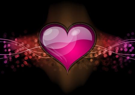 das Herz auf dem dunklen Hintergrund