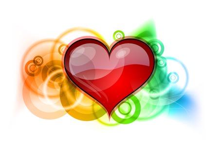 Coeur rouge sur un fond arc-en-ciel