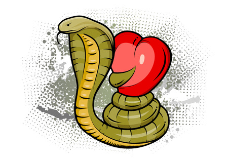 Snake with red heart. Abstract background is possible simple remove. Vector