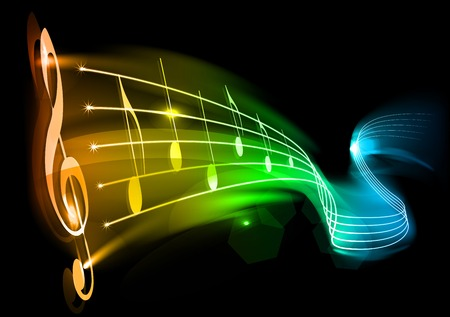 Music background - note on the black Stock Vector - 8638169