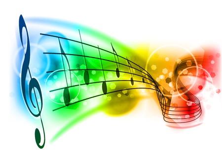 simbolos musicales: Fondo de música con la nota de color Vectores