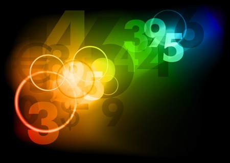 Dark background with color numbers Illustration