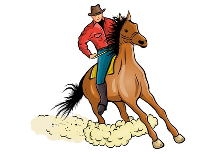 Cowboy is riding the horse Vector