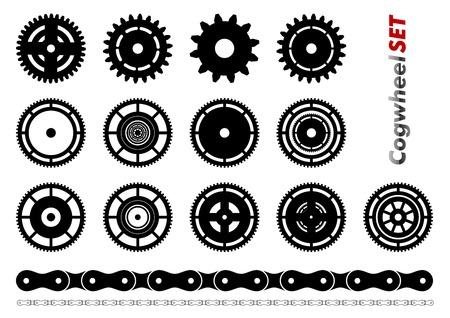 Cogwheel set isolated on the white Vector