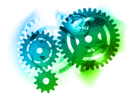 Cogwheel as blue and green background 向量圖像