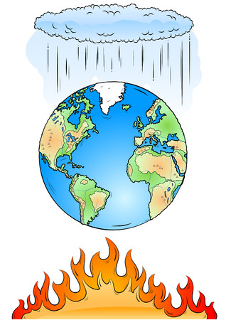 global problem: Tierra, nubes y fuego aislados en el blanco Vectores