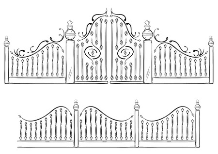 railing: porte isol�e sur le blanc Illustration