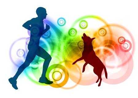 Silhouetten von Mensch und Hund