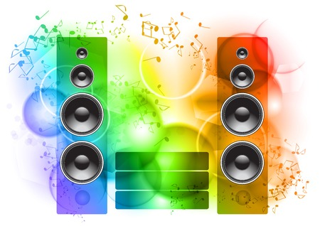 tunes: Music abstract background with speakers Illustration