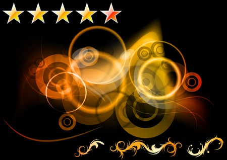 energy ranking: set of abstract background, rating stars and ornaments Illustration