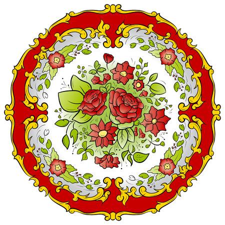 Red spring ornament with flowers Illusztráció