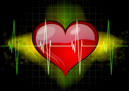 cardiogram: Heart with ekd line on the black