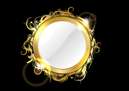 gold mirror on the black background Stock Vector - 9113356