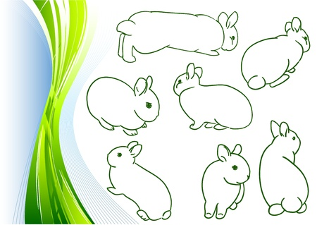 simple sketches of small bunny Vector
