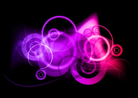 lila: purple neon light ornament on black