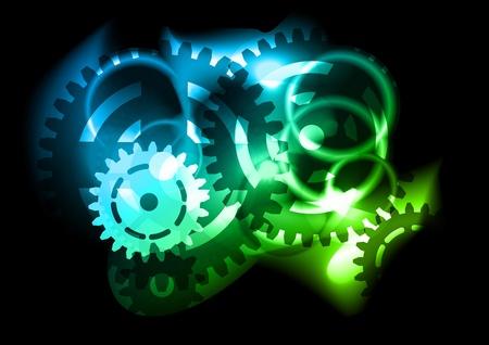 cogwheel: flashing cogwheel on the black background