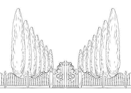 victorian fence: old close gate with trees Illustration