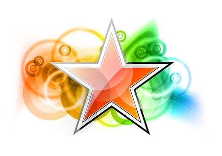 estrella roja sobre el color del arco iris