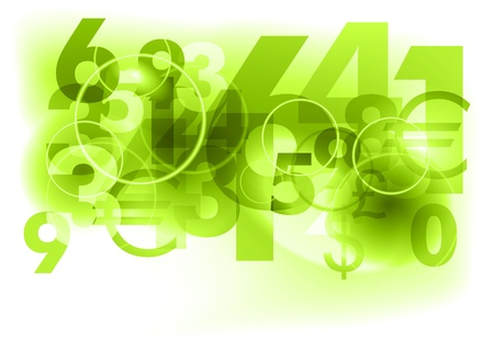 green background with abstract numbers Stock Vector - 9293732