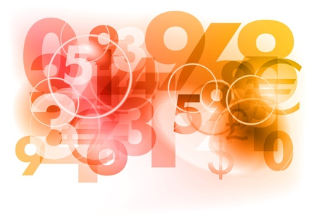 digital numbers: red abstract background with numbers