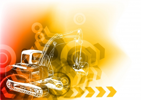 heavy construction: big loader on the abstract background Illustration