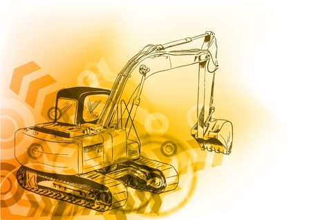 industrial machine: big loader on the abstract background Illustration