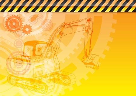 yellow tractor: fondo naranja con el tema de la construcci�n