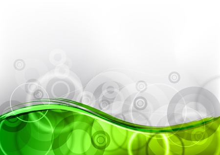 green wave background on the white