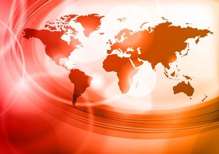 calentamiento global: rojo Mapa del mundo