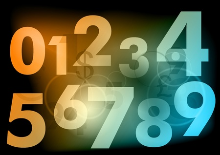 light numbers on the dark background Stock Vector - 9410854