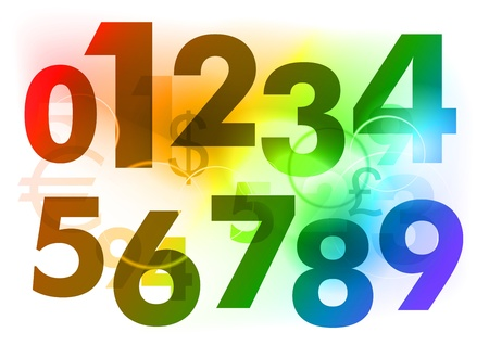 rainbow color numbers on the background Stock Vector - 9410853