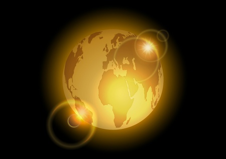 golden world on the dark background