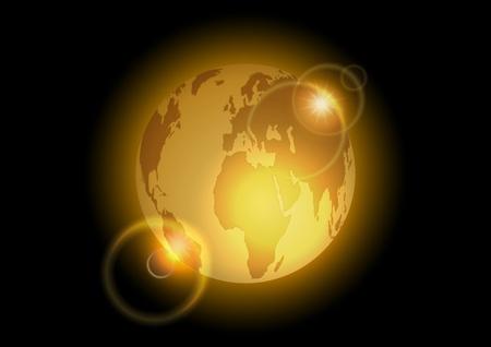 golden world on the dark background Stock Vector - 9457162