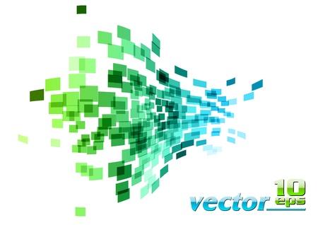 cuadrados: Plaza de onda verde y azul