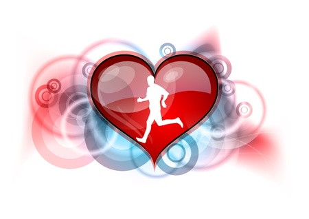 runner on the red heart Vector