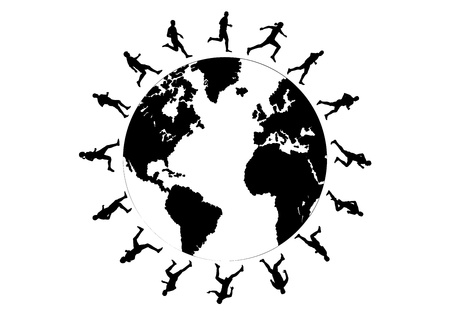 world group: black silhouettes of running around the world