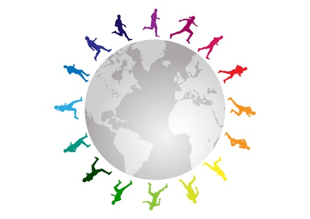 world sport event: rainbow running around the world