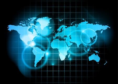 north america map: blu mappa del mondo Vettoriali