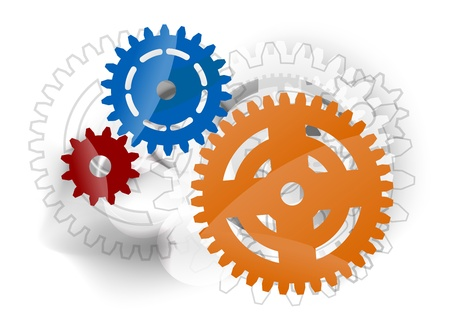 three cogwheel on the grey background Vector