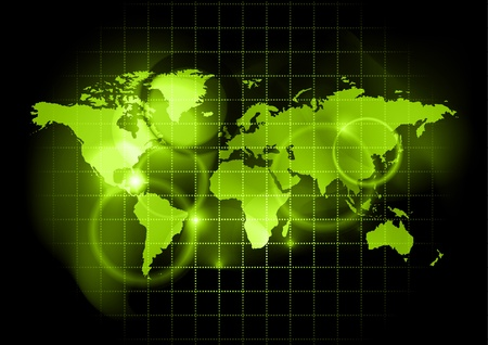 art digital: green map of the world Illustration