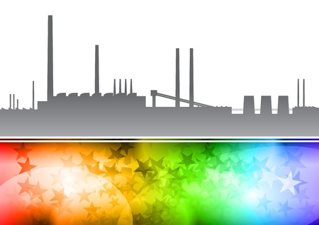 factory on the rainbow background Vector