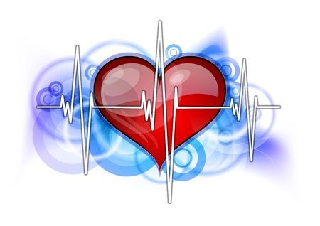 battement du coeur: cardiogramme blanc avec c?ur rouge