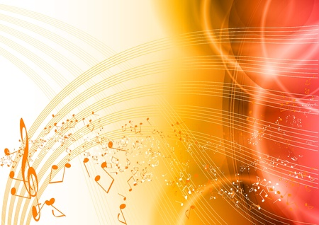 music background with orange notes Vector