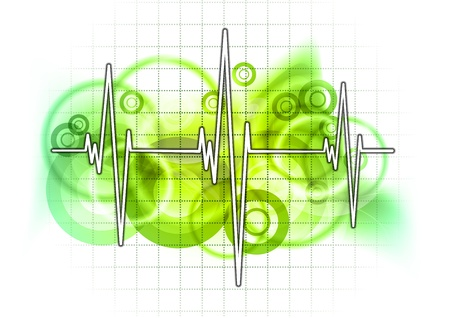 graph on the green grid Stock Vector - 9573401