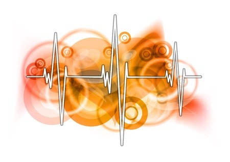 cardiograph on the red background Stock Vector - 9573399