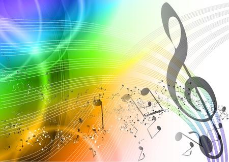 musica clasica: Fondo de música de arco iris con notas