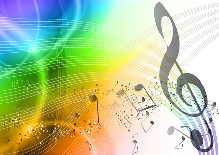 rainbow music background with notes Vector