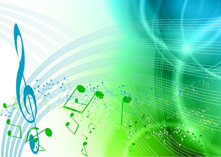 blue and green music background Vector