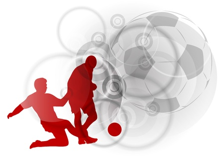 red silhouettes of soccer players Vector