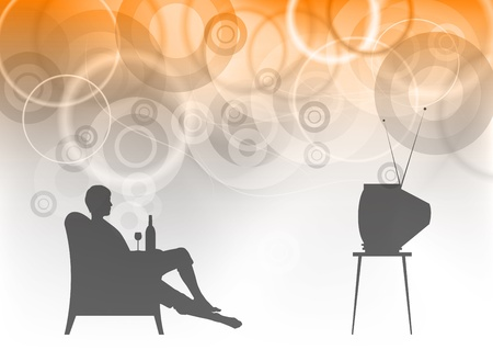 watching tv on the background Vector
